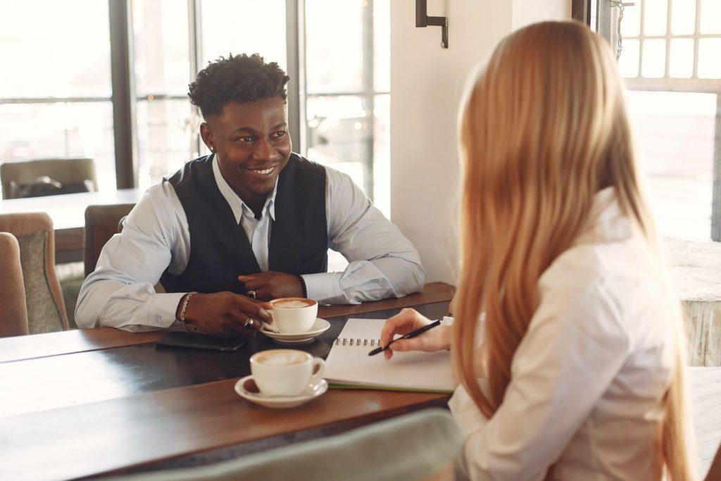 An HR manager interviews a prospective employee.