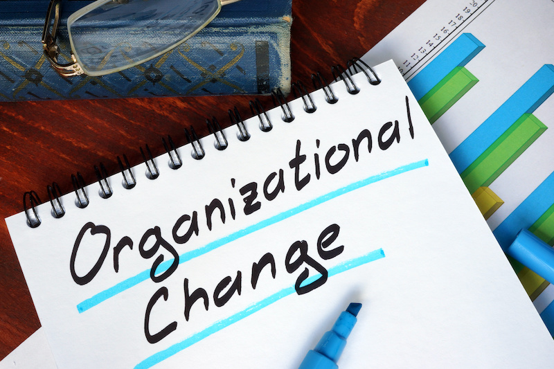 A notebook with Organizational Change written on it