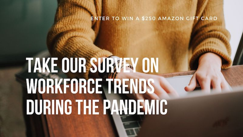 An employee working from home takes Intoo's survey on workforce trends.